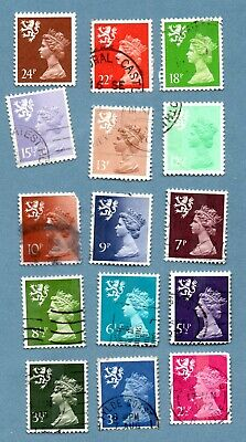 GB/UK regional SCOTLAND stamps 1971 Machin Portrait. Fifteen stamps. Full perf.