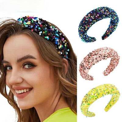 Women's Sequin Padded Headband Hairband Wide Hair Band Hoop Accessories Costume