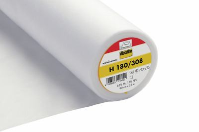 Vilene H180 Light Easy Fuse Ultrasoft Iron On Interfacing Lining White 90Cm Wide