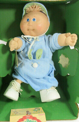 Coleco Cabbage Patch Kids Doll Preemie Boy Baby Blue Suit Blonde Front Tuff Hair