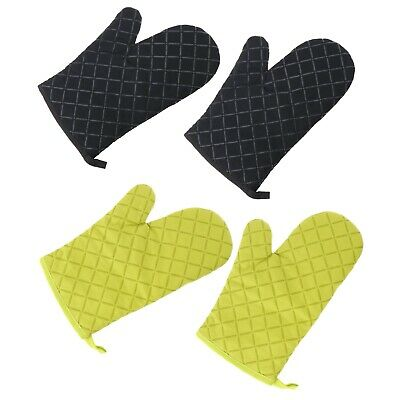 Black/Green Pair Oven Mitts Silicone Heat Resistant Cotton Kitchen Gloves