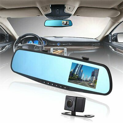 "Dual Lens 1080P Car Backup Reverse Camera 4.3"" Rear view Mirror Digital Recorder"