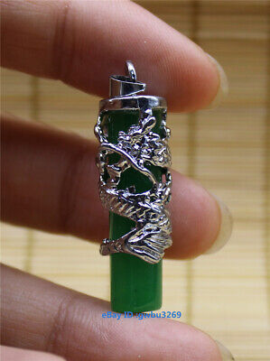 Chinese Tibetan silver Carved dragon inlaid jade Pendants necklace  @A01