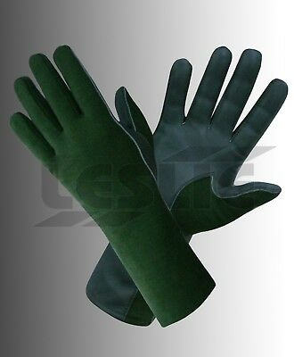 TACTICAL NOMEX FIRE RESISTANT FLIGHT PILOT LEATHER GLOVES SEA-GREEN 8-9-10-11 e