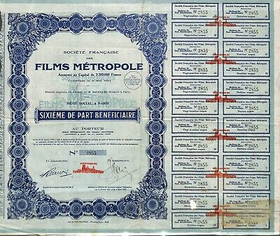 Scripophilie / Ste Des Films Metropole / Action Bourse / Cinema Movie