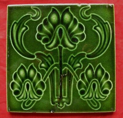 Antique Majolica Art Nouveau Green Tile Stylised Flames / Flowers Corn Brothers