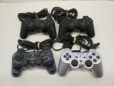 Sony PlayStation 2 PS2 Controller Lot of 4 OEM Silver, Black, Clear AS IS Parts