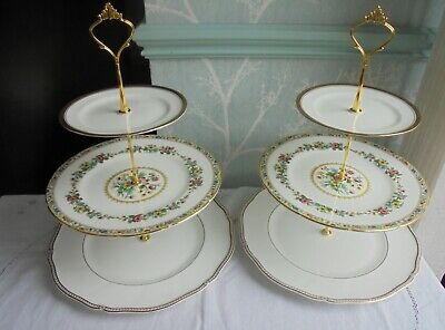 2 x 3 tier china cake stand Mismatched Wedgwood, Coalport Ming Rose etc plates