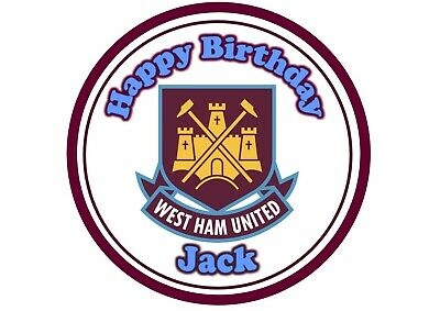 Edible West Ham United Topper Icing Sheet or Wafer Paper 6inch 7inch 8inch