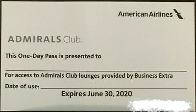One (1) American Airlines ADMIRALS CLUB lounge One-Day Pass Exp. 6/30/2020