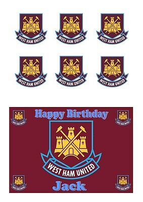 A5 edible West Ham United with 6 Cupcake Cake Toppers Icing Sheet or Wafer Paper