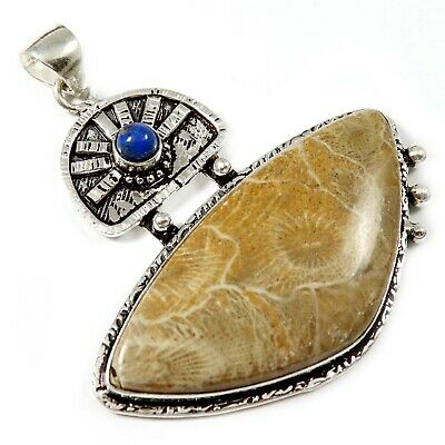 Natural Morocco Fossil Coral Lapis Lazuli Gemstone Silver Plated Pendant GPJ123