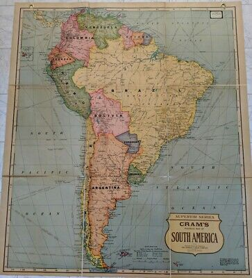 Vintage Cram's Cloth-Back Folding Map of South America Superior Series