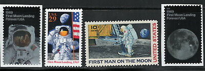 First Man On The Moon ** 1969 Apollo 11 ** 4 Us Postage Stamps Mint