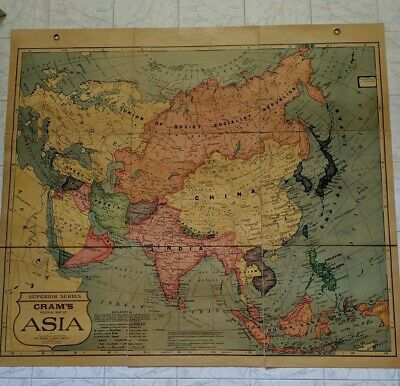 Vintage Cram's Cloth-Back Folding Map of Asia Superior Series