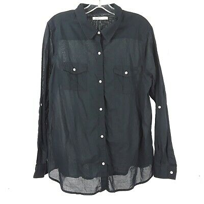 Old Navy Women's Long Sleeve Size XL Black Cotton Button Down Front
