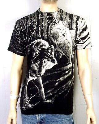 vtg 80s 90s single stitch 1992 All Over Print Wolf T-Shirt Nature Punk Indie L