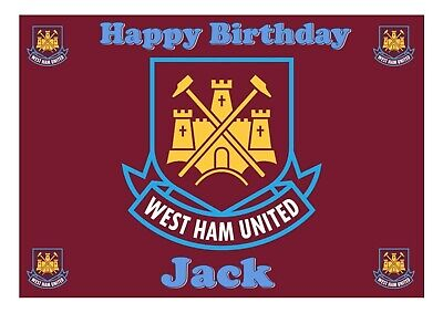 A4 Edible West Ham United Cake Topper Decoration Birthday Cake Decorating