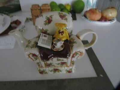 Vintage Royal Albert Old Country Roses Decorative Teapot Bear With Book On Chair