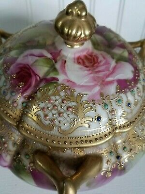 Vintage Nippon Moriage Gold Covered Dish Pink Roses 3 Handles Footed Bowl Japan