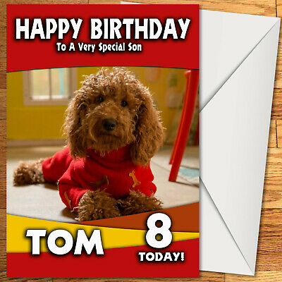 Waffle The Wonder Dog Birthday Card - Personalised with any age name relation