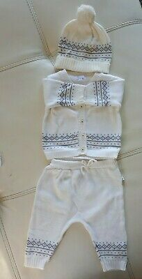 Precious Baby White Knitted Top And Leggings Set With Beanie Baby Size 00