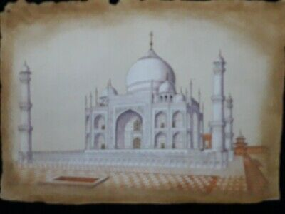 RARE hand made painting depicting mughal's ARCHITECTURAL 3D VIEW OF TAJ MAHAL