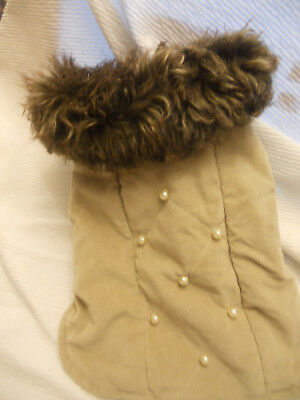 XS Winter dog coat  beige with brown fo fur Pet Apparel dog coat