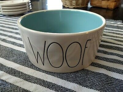 """NEW Rae Dunn 6"""" WOOF LL Large letter Dog Pet Bowl turquoise interior"""