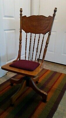 Antique Wood Swivel Rocking Chair (Restored Upholstery and Carved Decoration)