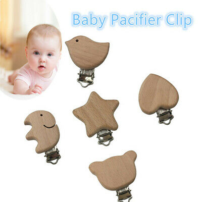 Natural Color Pacifier Clip Dummy Holder Beech Wood  DIY Pacifier Chain