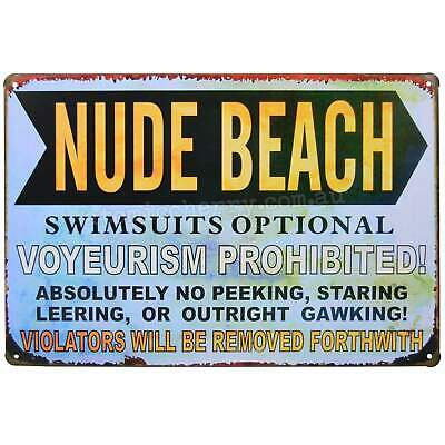 Nude Beach Retro Metal Tin Sign Homewares Decor Kitsch Pool Novelty Funny
