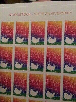 US 5409 Woodstock 50th Anniversary forever stamps (sheet of 20) NEW, TEXTURED !!