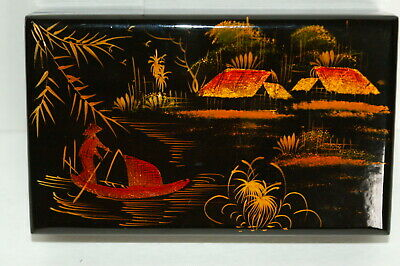 Vintage Oriental Black Lacquered Box w/ Gold Painted Water Front Scene