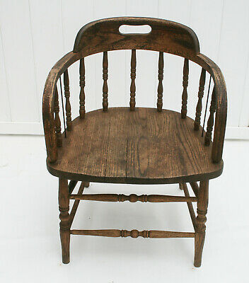 American Oak spindle back TUB shaped antique arm CHAIR (in Sears 1800s catalog)