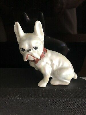 Vintage Porcelain French Bulldog Figurine Figure Pearlized Iridescent Japan
