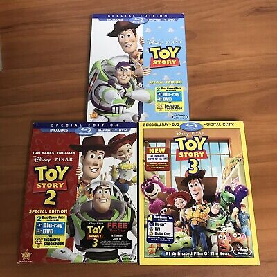 Toy Story 1 2 3 Trilogy w/ Slipcovers Blu-ray Lot Collection