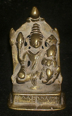 "Antique Traditional Indian Bronze Statue God ""Vishnu And Laxmi"" Rare Collectible"
