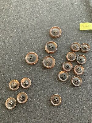 Luxury unpolished 4 hole real HORN BUTTONS SET sport coat suit bespoke 23.61
