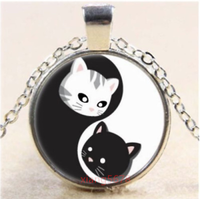 "YIN YANG CAT KITTEN HEADS ANIMAL pendant 20"" Sterling Silver 925 necklace female"