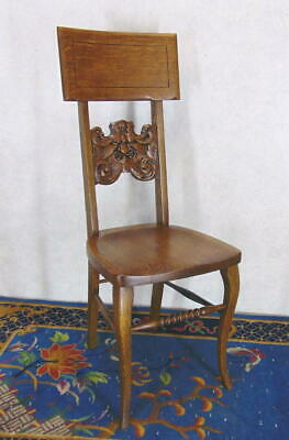 Incredible CARVED Ornate SOLID OAK Victorian Slipper/Side/Hall Chair RESTORED EX