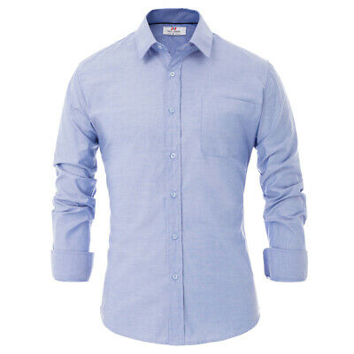 PJ Mens Long Sleeve Button Down Collar Office Casual Formal Dress Cotton Shirt