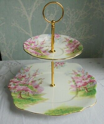 Royal Albert Blossom Time 2 tier china cake stand from vintage plates