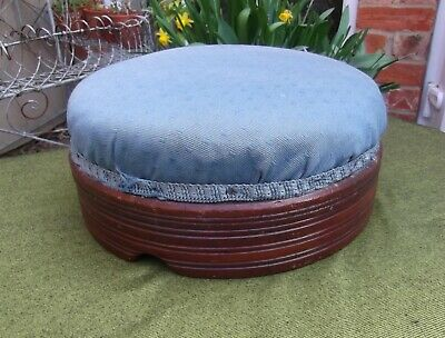 Heavy Round Edwardian Turned Mahogany Footstool~Ideal Re-Cover Project