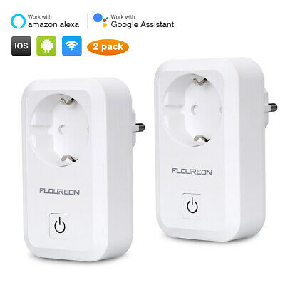 FLOUREON 2 Pack WIFI Smart Wireless Steckdose Remote Timer Ctrl Plug Stecker APP