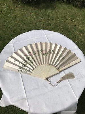 """Antique Hand Fan Large 16"""" Guards Ivory & Hand Painted Satin VGC"""