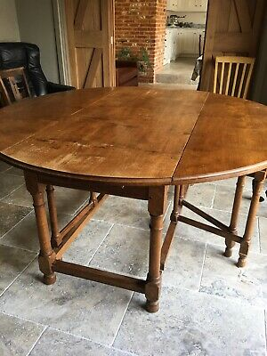 English Oak Large Circular Dining Table With Trestle Legs Or GrandConsole Table