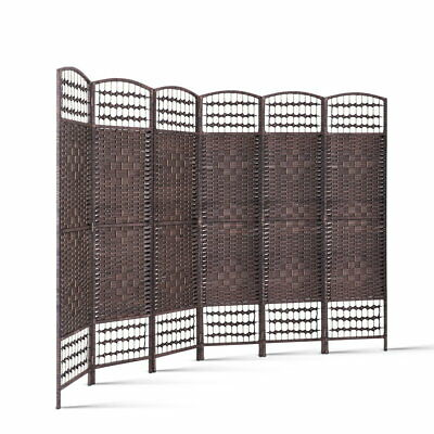 Artiss 6 Panel Room Divider Privacy Screen Dividers Rattan Timber Stand Woven