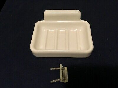 "Vintage/Antique Porcelain Soap Dish Wall Mount with Bracket~4 1/2"" x 3 1/2"""