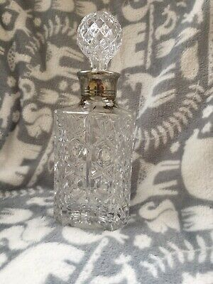 Heavy Cut Class Crystal DECANTER Silver Plated Neck & Decorative Whisky Jug